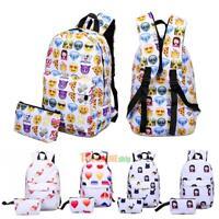 2pcs Women Girl Casual Fashion 3D Print Backpack School Book Bag Travel Satchel