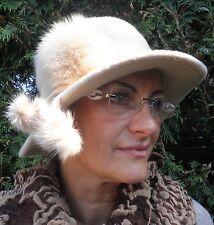Sombrero Mujer Gorro De Lana para eventos enrollable triturable BEIGE CLARO