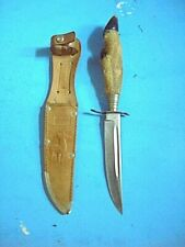 OLD SOLINGER STAG HOOF FIXED BLADE KNIFE+SHEATH