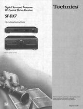 Technics SF-DX7 SH-AC500D SA-AX7 Surround Processor Owners Manual Reprint