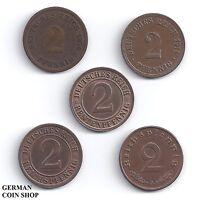 5 x 2 Pfennig - Set aller 2 Pfennig Münzen von 1873 - 1940 Deutsches Reich