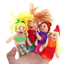 4 Pcs/set Little Mermaid Finger Puppets Doll Wooden Headed Baby Educational Toy