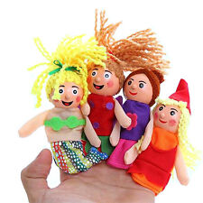 4 Pcs/set Little Mermaid Finger Puppets Doll Wooden Headed Baby Educational 0p1