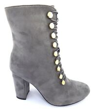 womens grey faux suede block high heel ankle boots zip fastening button detail