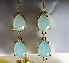 Acqua Blue Faceted Glass Teardrop Gold Tone Dangle Drop Earrings Fashion Jewelry