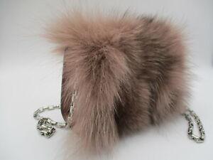 "Michael Kors ""Yasmeen"" blush fur clutch/ crossbody purse mini"