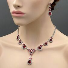 18K White Gold GP Ruby Red Zirconia CZ Necklace Earrings Wedding Jewelry Set 408