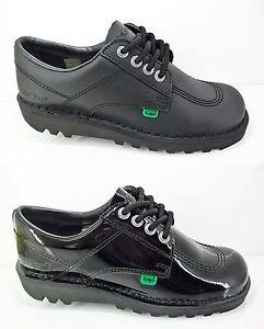 New Womens Girls KICKERS Black Patent Leather Shoes Kick Lo Lace Up Size UK 3-8