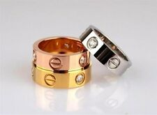 LOVE RING screw ring gold/rose gold/platinum color cubicCZ **Multiple Options**