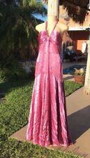 Monique Lhuillier HALTER FLOWING SILK GOWN PURPLE / PINK DRESS Sz 12 MADE IN USA