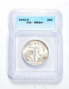 MS66+ 1943-D Walking Liberty Half Dollar - Graded ICG *0471
