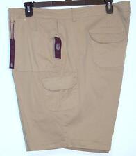 NWT Gloria Vanderbilt Comfort Waist Mid Rise Stretch Cargo Shorts 24W Latte