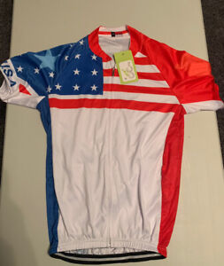 NWT USA Short Sleeve Cycling Jersey Size M