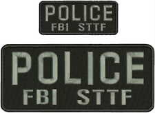 POLICE FBI STTF  EMBROIDERY PATCH  4X10 AND 2X5 hook on back GRAY