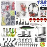 138pcs Saltwater Fishing Tackle Kit Leader Rigs Lures Sinker Floats Swivel Hooks