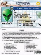 NEVADA Flying Saucer License -  Drivers License - fun fake i.d. card