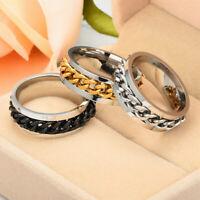 Women Men Chain Ring Band Stainless Titanium Chain Steel Charm Punk Fashion Gift