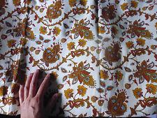 3 ancien coupon tissu textile ameublement imprimé style indienne marron