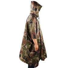 Camo Poncho Military Woodland Waterproof Army Hiking Poncho Ripstop Wet Weather