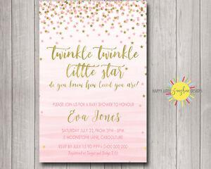 Custom Baby Shower Invitation Twinkle Twinkle Little Star Pink &Gold Watercolour