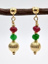 #BE-196 14K Solid Gold Corrugated Ball Beaded, Ruby & Green Quartz Drop Earrings
