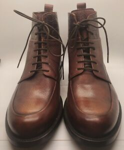 BRIONI BROWN pebbled/grained leather SHOE boots laces size 43 round toe NWOB