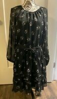 *NWT* ABERCROMBIE & FITCH Women's Boho Black Floral Dress-Size XL, Extra-Large
