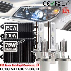 55W/75W/100W/150W Xenon Ballast HID Conversion Kit H1 H4 H7 H11 9005 9006 Bulbs