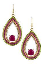 Ethno Boho Lange Ohrringe Perlen Ketten Grün Pink Pfisich Kristall Klar 6cm lang