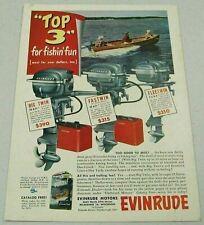 1951 Print Ad Evinrude Outboard Motors Big Twin 25,Fastwin 14,Fleetwin 7.5