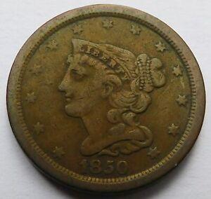 1850 Braided Hair Half Cent 1/2C - Fine