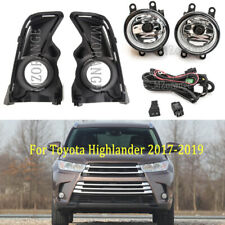 For Toyota Highlander 2017 2018 19 Clear Fog Light Lamp+Wiring+Switch Kit+Cover