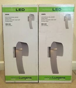 Outdoor LED Wall Mount Lantern Good Lumens Silver Finish #23615 2-PACK NEW!