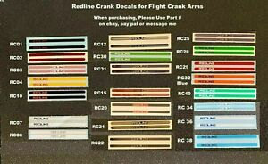REDLINE Flite Crank Decals, pair (Choice - 1 pair any color, 26 to choose from)