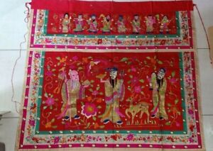Antique Straits Chinese Nonya Embroidery Gods Gold Threads Cloth Singapore China