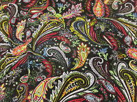 Black With Vibrant Multicolour Paisley 100% Viscose Summer Printed Dress Fabric.