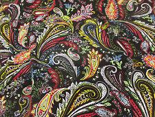 Black With Vibrant Multicolour Paisley 100% Viscose Summer Printed Dress Fabric.