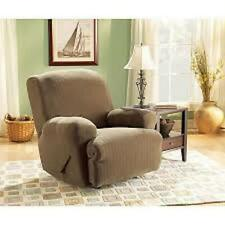 Sure Fit Stretch Pinstripe Recline Slipcover in Sable