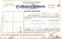 .1903 U.S. AMERICAN CHEROKEE LAND OFFICE CERTIFICATE of ALLOTMENT.