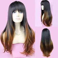 Femmes Noir Brun Cheveux Synthétiques Longue Bouclé Ondulé Cosplay Perruque Wig