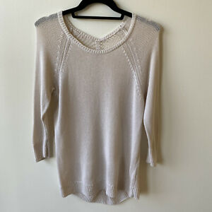 HALOGEN Cream Linen Embroidery Sweater size S