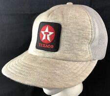 Vtg Texaco Mesh Trucker Hat Snapback Patch Cap Gas Station Heather Gray 1980s