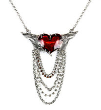 Red Wing Heart Stone Chain Steampunk Necklace Lace Pendant Punk Goth Cyber Rave