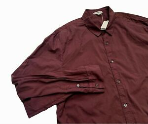 James Perse Men's Lightweight Burgundy Long Sleeve Button Shirt Sz 4 NWT