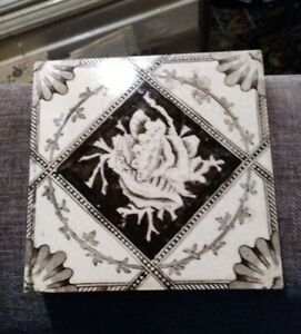 Antique Victorian Arts And Crafts Seashell Tile Circa 1890s