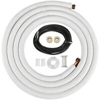 """Ductless mini Split Line Set & Control Wire 1/4""""x3/8""""x16ft Insulated 100% Copper"""