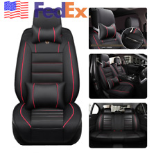 Universal Deluxe PU Leather Car Seat Cover Set Cushion Pad Pillow Black+Red USA