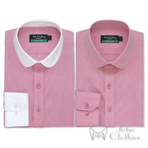 Mens Penny collar Cotton shirt Pink melange Bankers Club Round Peaky Blinders