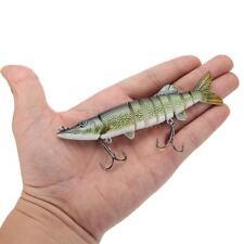 "5"" / 12.5cm 9-segement Pike Muskie Fishing Lure Swimbait Crankbait Tackle A7J4"