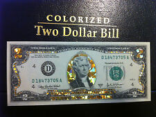 LOT OF 10 * 22 K GOLD $2 DOLLAR BILL*HOLOGRAM COLORIZED LEGAL NOTE*REAL CURRENCY